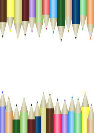 Illustrated borders made from coloured pencils Stock Photo - 7270588