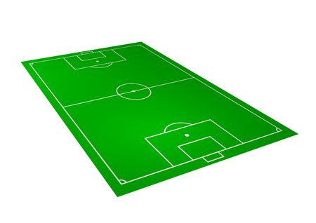 angled: Illustration of a perspective football field over a white background Stock Photo