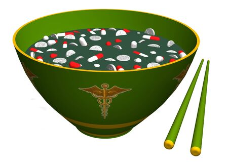 chinese medicine: Chinese chopsticks and bowl filled with pills and tablets representing Chinese medicine