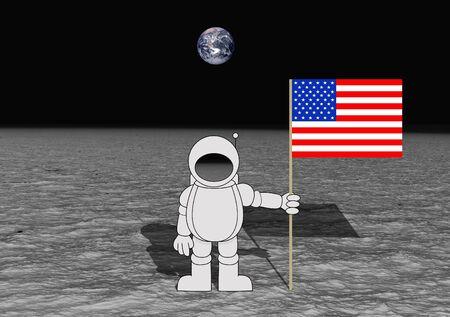 superficie: Ilustración de un astronauta sosteniendo una bandera de Estados Unidos en la Luna