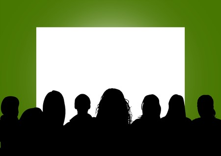 movie screen: Illustration of a group of people looking at a blank screen