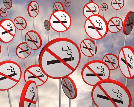 quit: Illustrated no smoking signs