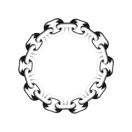 linked chain: An illustrated  frame made of links of chain