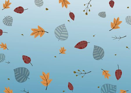 Illustration of leaves and branches on a blue gradient background Stock fotó