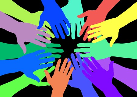 stakeholder: Lots of colourful hands over a black background
