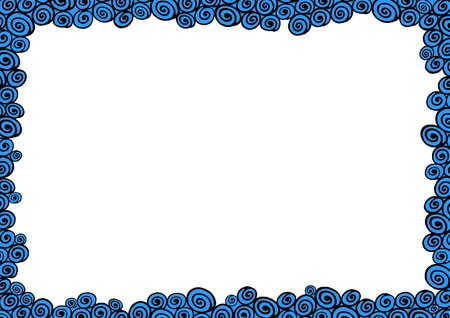 the borderline: Illustrated frame made of black and blue water shapes