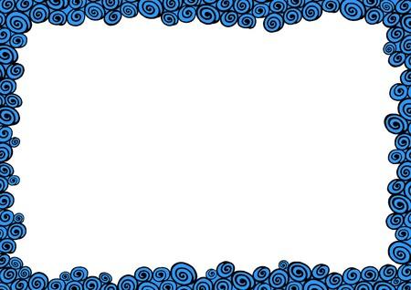 borderline: Illustrated frame made of black and blue water shapes