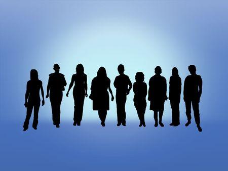 Illustration of a crowd of women  Stock Illustration - 7393058