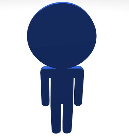 Illustration of a blue character with a large head Stock Illustration - 7393134