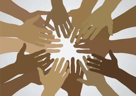 unify: Illustration of lots of brown hands