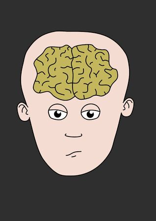 Cartoon person showing the brain Stock Photo - 7393154