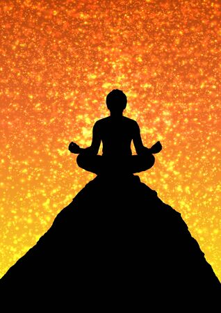 Illustration of a person sitting atop a mountain in Meditation Stock Illustration - 7393200