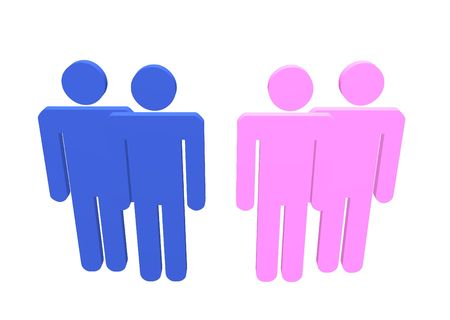 wedlock: Illustration a gay and lesbian couple or straight couples standing by their friends Stock Photo