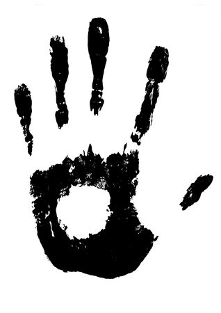 stop hand silhouette: Large illustrated black and white hand print