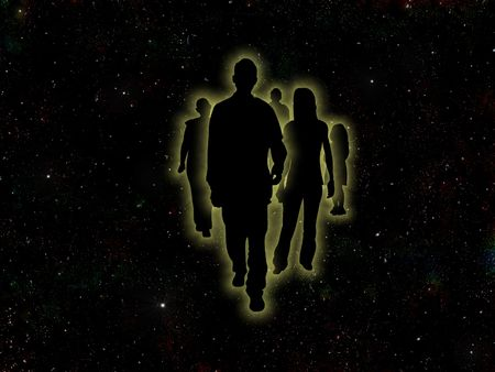 Illustrated people on a space background Stock Photo - 7393166