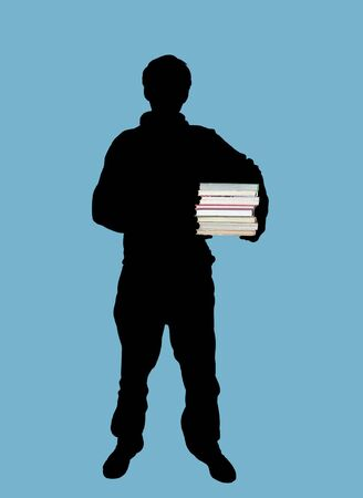 Illustration of man holding books illustration