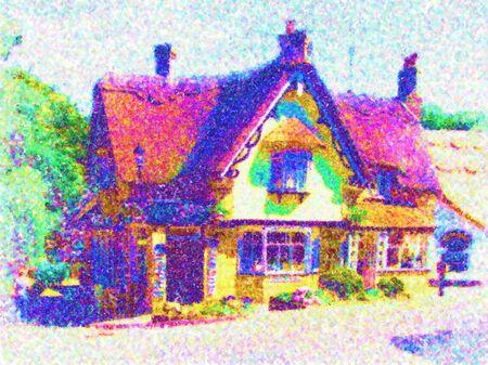 pointillism: pointillism style illustration of a cottage