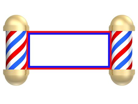 barbershop: Illustrated rendering of a barbershop sign turned into a scroll
