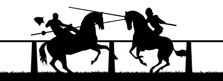 jousting: Illustration of two knights in a Jousting tournament