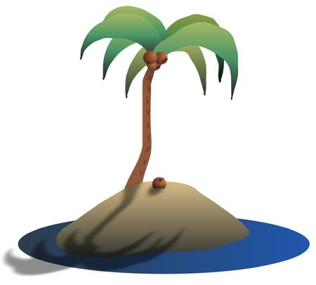 castaway: Illustration of a desert island with a coconut tree