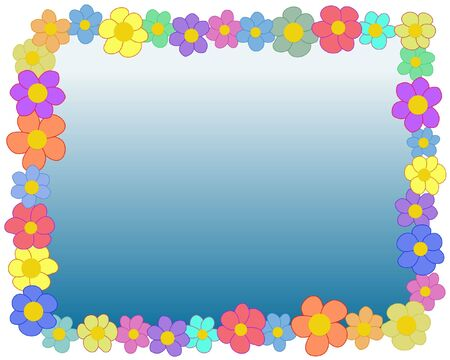 cartoon frame: Illustrated rectangle frame made of flowers
