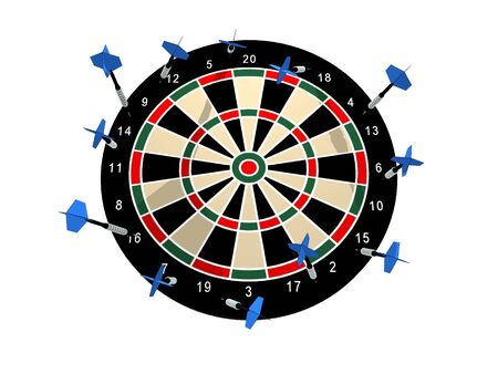 Illustration of a dart board with all the darts missing any target illustration