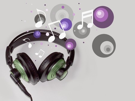 Illustrated headphones with musical notes and retro bubbles photo