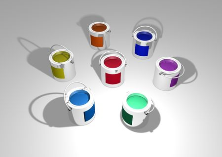 paintcan: Illustration of different coloured cans of paint