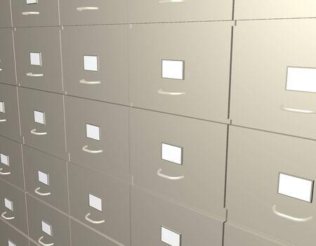 Illustration of many filing cabinets Banco de Imagens