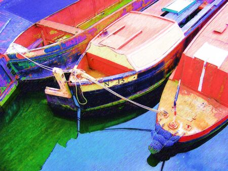 waterway: Illustration of three Colourful barges