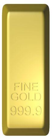 fine gold: Rendered illustration of a bar of gold