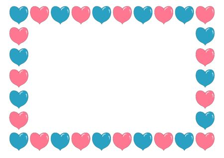 Illustrated border made from pink and blue hearts photo