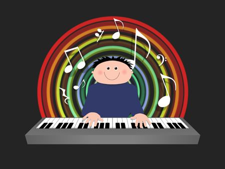 Illustrated cartoon character playing a keyboard with musical symbols Stock Photo - 7852593