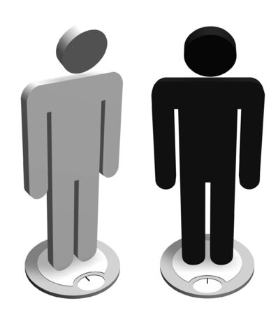 Illustration of two characters weighing themselves  illustration