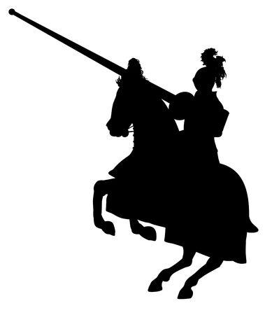 silueta ciclista: Ilustraci�n de un caballero aislado a caballo