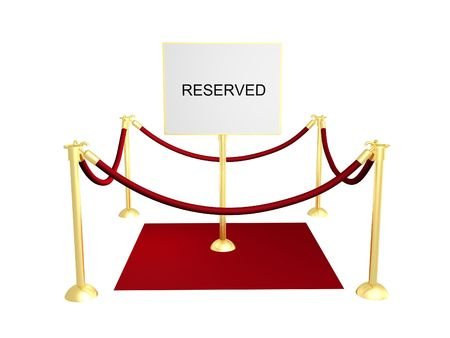 roped: 3D illustration of a roped off area with a reserved sign