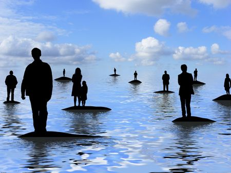 separate people. illustration of lots people standing on separate islands stock - 7937193 i