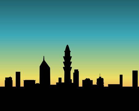 City skyline on sunset background Stock Photo - 7937185