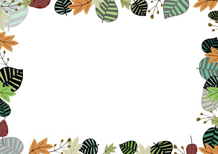plantlife: Illustrated frame made of various types of leaves and plant life Stock Photo