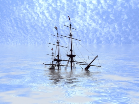 vessel sink: Ilustraci�n de un barco que se hunde en un oc�ano