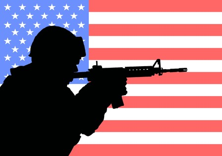 Silhouette of an American soldier with the flag of the United States in the background Stock Photo - 7937248