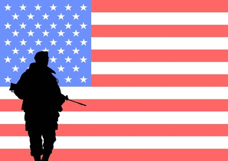 armed forces: Silhouette of an American soldier with the flag of the United States in the background