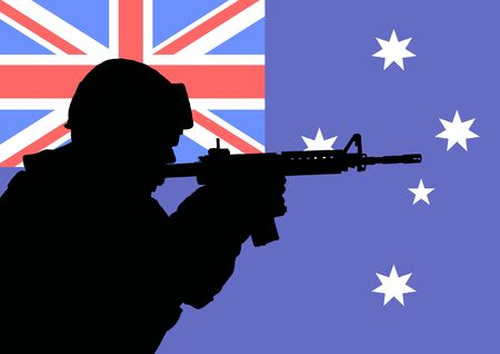 Silhouette of an Australian soldier with the flag of Australia in the background photo