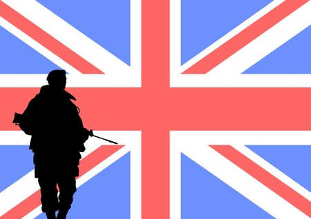 british man: Silhouette of a British soldier with the flag of the United Kingdom in the background