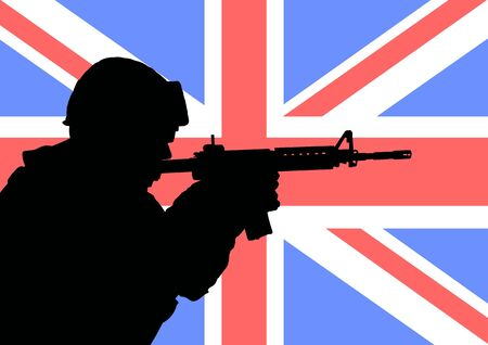 Silhouette of a British soldier with the flag of the United Kingdom in the background photo