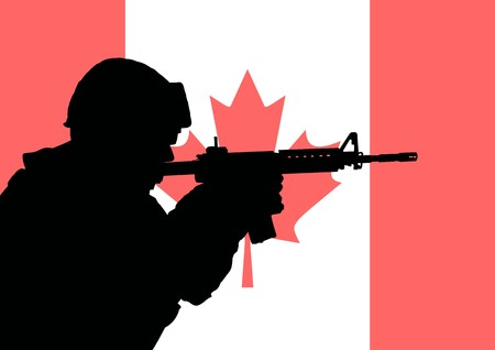 Silhouette of a Canadian soldier with the flag of Canada in the background photo
