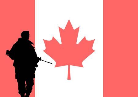 armed forces: Silhouette of a Canadian soldier with the flag of Canada in the background
