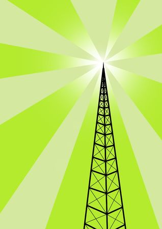 Broadcast tower against a green background Stock Photo