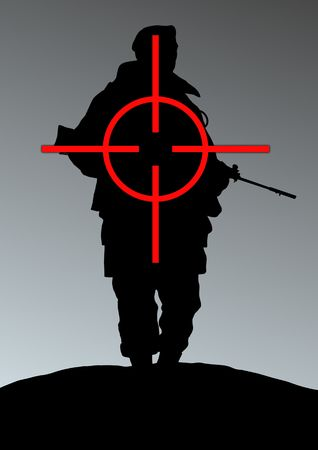 cross armed: Illustration of a soldier being targeted