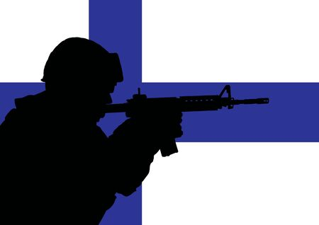 finnish: Silhouette of a Finnish soldier with the flag of Finland in the background